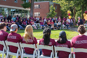 A photo of Regis students gathered during Founder's Day