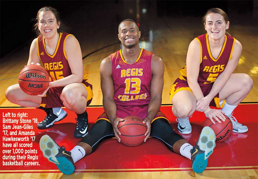 Left to right: Brittany Stone '18, Sam Jean-Giles '17, and Amanda Hawkesworth '17 have all scored over 1,000 points during their Regis basketball careers.