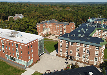 An aerial photo of the Regis College campus taken from above the Library