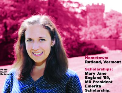 Hometown: Rutland, Vermont; Scholarships: Mary Jane England '59, MD President Emerita Scholarship; Photo: Holly Redmond