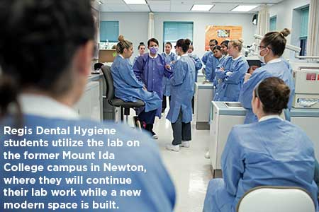 Regis Dental Hygiene students utilize the lab on the former Mount Ida College campus in Newton, where they will continue their lab work while a new modern space is built.