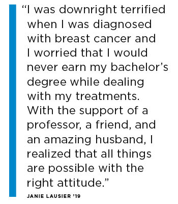 Quote: I was was downright terrified when I was diagnosed with breast cancer and I worried that I would never earn my bachelor's degree while dealing with my treatments.